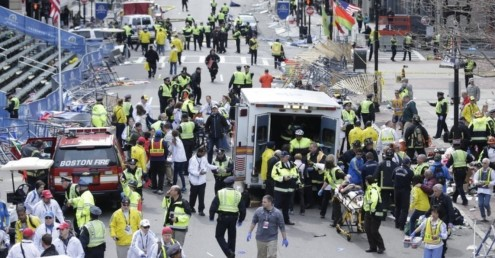 Scenes of chaos after two explosions at Boston Marathon