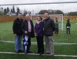 Mickey Brady MLA & Cllrs Anthony Flynn, Roisin Mulgrew, and Mickey Larkin pictured at the official opening of the Canlough Rovers 3G playing pitch