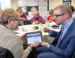 The Minister is pictured with Nuala McNight at a Get Online Week event in Portaferry Library