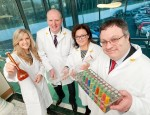 Dr Stephen Farry met apprentices at Norbrook, Newry. Pictured is Jill Sanders from Portadown, Brian Doran, Southern Regional College and Dr Lillian Cromie, Norbrook