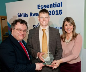 Minister for Employment and Learning, Dr Stephen Farry, Co Down Winner, Matthew Cunningham and Compere Sarah Travers