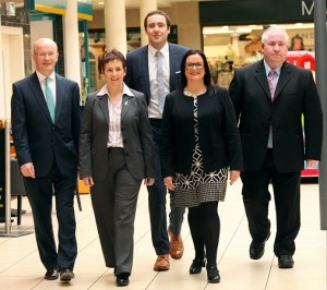 Peter Murray, Centre Manager, Therese Clerkin, Office Manager, James Loughran Operations Director, Lorna Loughran, Office Manager and Brian Richmond Security Supervisor.