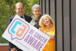 hief Medical Officer Dr Michael McBride and Public Health Agency (PHA) Consultant Dr Miriam McCarthy join Marlene Murtagh, who had lung cancer, to launch the PHA's new campaign to raise awareness about the condition
