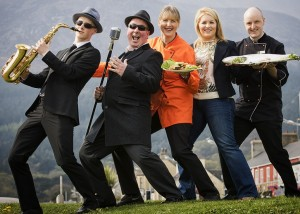 Cathal Keavney, Finbarr Keavney, Sharon Orr (McGees Butchers), Newry, Mourne and Down District Council Chair, Naomi Bailie and Ryan Huston (McGees Butchers) look forward to the Food and Blues Festival
