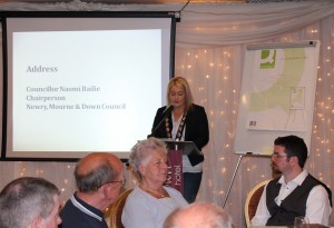 Newry, Mourne and Down District Council Chair, Cllr Naomi Bailie addresses over 130 delegates at a recent Community Planning Event held in the Whistledown Hotel, Warrenpoint recently