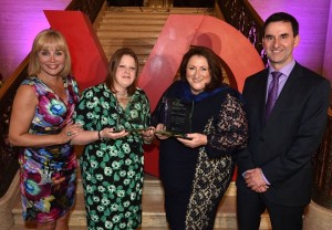 Pictured with compere Tina Campbell at the awards ceremony is Julia Clements (right) who scooped the Northern Ireland VQ Learner of the Year 2015 and Louise Smyth representing National Museums Northern Ireland (NMNI) won the Northern Ireland VQ Employer of the Year 2015