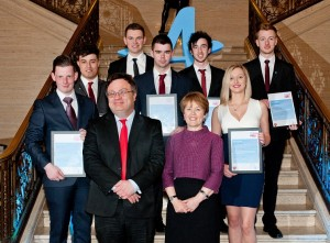 Pictured are the ceremony (left to right) are: Front row - Aaron Grant, Newry, Minister Farry, Anne Spackman, Chief Executive, Career Academies UK and Naoise Beatty, Newry. Back row - Lewis Foster, Newry, Kalam Farrell, Banbridge, Gary McShane, Newry, Mark Duffy, Newry and Brendan Auden, Newry. All students pictured attended Southern Regional College.