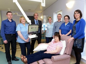 Moira McCullagh who uses the bedside entertainment system during her treatment at the Mandeville Unit at Craigavon Area Hospital.