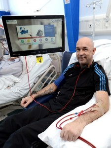 Justin Weir who used the bedside entertainment system during his dialysis treatment at Daisy Hill Hospital
