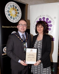 (Included in photo: Bevín O'Hare Scheme Manager Home Start and Daire Hughes previous Mayor)