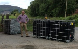 Cllr Mickey larkin pictured with the dumped cubes