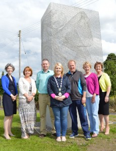 Pictured from left to right are Suzanne Lyle from Arts Council NI, Cllr Roisin Mulgrew, Cllr Micky Larkin, Chairperson Cllr Naomi Bailie, LPS Chairperson Des Murphy, Cllr Kate Loughran and Cllr Geraldine Donnelly