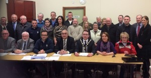 Cllr Mulgrew and former Mayor of Newry and Mourne Dáire Hughes with members of the Friends of Derrymore