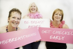 Be Breast Aware: Linda Giles, Adele Graham and Margery Magee help launch the Public Health Agency's new breast cancer awareness campaign. The campaign aims to increase knowledge of the signs and symptoms of breast cancer and encourage women to speak to their GP without delay if they find any of them. Linda had breast cancer over 20 years ago, but has gone on to run the London Marathon and trek the Himalayas