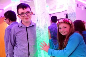 11 year old Dylan and his sister Orla Mai in the Sensory Zone in Buttercrane Shopping Centre, a first for NI