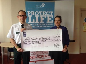 Phil Quinn skydive - cheque presentation Sept 2015