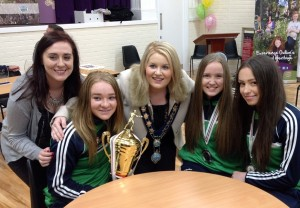 Orla, Amy and Shauna with Chairperson Naomi Bailie and Sinn Féin MLA Megan Fearon