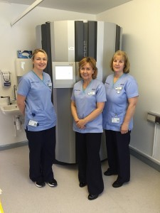The new phototherapy cabinet: Staff nurses - Joanne Boyd, Maread Gates and Pamela Campbell standing alongside the new equipment
