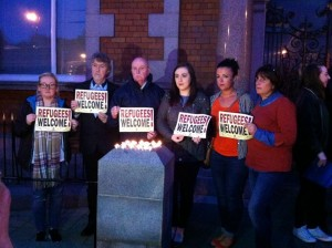 Sinn Fein reps MP Mickey Brady, MLA Megan Fearon with Cllrs Charlie Casey, Valerie Harte and Liz Kimmins along with Sarah Jane McAllister at the vigil on Wednesday.