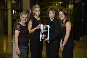 NIWFA Premier League Player of the Year Aoife Lennon (Newry City Ladies) shows off her trophy along with NIFWA chairwoman Susan O'Neill, Sports Minister Caral Ni Chuilin and Sara Booth, Irish FA Women's Domestic Football Manager.