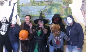 Members of the Bessbrook Community and Residents Association get ready for their Halloween Festival