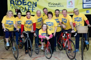 All set for the 'Ride On' for Raff charity cycle from Lissummon on Sunday the 25th of October. Included from left are Claudine Rafferty, Niamh McCoy, Pat O'Hagan, Paul O'Hagan, Siofra McAleer, Eugene O'Hagan, Jacqueline Rafferty, Donal McCoy, Barry Convery and Brian Murtagh. Photograph: Columba O'Hare