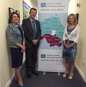 Mr Richard Pengelly, Permanent Secretary, Department of Health, Social Care and Public Safety on his visit to the Southern Trust with Chair, Roberta Brownlee and Chief Executive (Interim) Paula Clarke.