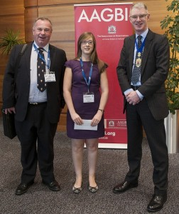 (L-R): Peter Maguire, Anaesthetist; Jill Cochrane, Anaesthetist (prize winner) and Andrew Hartle, President Association of Anaesthetists of Great Britain and Ireland