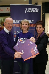 Michelle Penney, Pancreatic Cancer Community Involvement Coordinator Northern Ireland, with Centre Manager Peter Murray and Therese Clerkin, Office Manager.