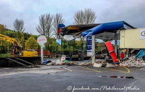 There was significant damage caused to a popular filling station in Bessbrook three weeks ago in an ATM theft. Photo: PAK Aerial Media