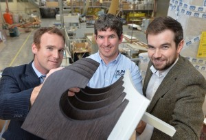 Pictured (l-r) with the new light weight materials developed as part of the KTP is Dr Edward Archer from Ulster University; Jude McCann, MJM Group Operations Manager and Edward Fitzpatrick, MJM Group Research and Design Manager.