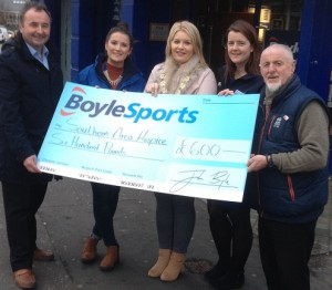 Pictured at BoyleSports Office Mill Street Newry Mayor Naomi Bailie, Aoife Heffron of BoyleSports,Anne Mac Oscar Regional Marketing Officer with the Southern Area Hospice, Pat Mc Ginn & Lawrence Mc Cabe