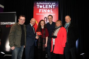 WINNER of the Buttercrane's Got Talent Final was on Wednesday was Emma Timlin been presented here with her prize from Peter Murray, Manager Buttercrane Shopping Centre along with judges Micky Murphy, Gary Myles, Jennifer Malone and Dominic Wadsworth
