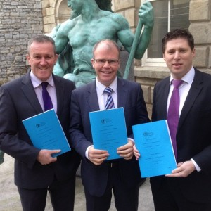 Newry MLA Conor Murphy with TD Peadar Tóibín and MEP Matt Carthy at the launch of the Oireachtas committee report on the all Ireland economy