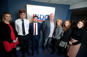 (L-R) Suzanne Creed from BDO NI, award winners Neil McAleenan and Cormac Birt with Miceal Murphy's parents Kevin and Fidelma, as well as fellow award winner, Kim Curry and Laura Jackson, Partner at BDO NI