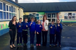 South Armagh Sinn Féin MLA Megan Fearon with Principal Lousie Campbell and pupils from Primary 7 in Killean PS