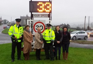 Pictured promoting road safety at St Joseph's Primary School in Meigh are: Constable Des O'Sullivan, Principal of St Jospeh's Primary school, Isobel Temple, Vice-Principal of St Joseph's Primary School, Una McNally, Constable Mark McGarrity, Sinn Fein MLA Megan Fearon and Sinn Fein Councillor Liz Kimmons SF Councillor