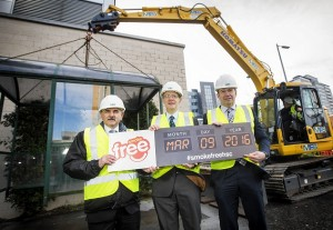 (L-R): Public Health Agency (PHA) Chief Executive Dr Eddie Rooney, Southern Health & Social Care Trust (SHSCT) Medical Director Dr Richard Wright & Chief Medical Officer Dr Michael McBride who marked the occasion by demolishing a smoking shelter at the Northern Ireland Cancer Centre, which will be replaced by a bike shelter.