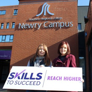 Caoimhe McKee from Armagh is making her career dreams come true by completing her Foundation Degree in Early Year Childhood Studies at Southern Regional College (SRC), Newry. Caoimhe is pictured with Donna Hughes, Learning Support Manager, Southern Regional College (SRC)