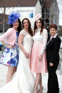 Pictured are: models Jenny, Laura and Kelly wearing outfits from Quiz and Exhibit and headpieces from Chic Newry. Also pictured is Teresa Clerkin, Buttercrane Centre Management