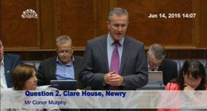 Conor Murphy raises the issue of Clare House in the Assembly with the new Communities Minister