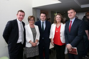 SDLP Leader Colum Eastwood, Dette Hughes Project Manager Eastborder Region, Assembly Members Justin McNulty, Sinead Bradley and Colin McGrath