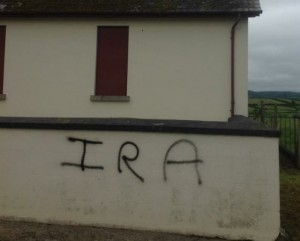 Graffiti on an orange hall outside Newry. Picture: David Taylor - Twitter
