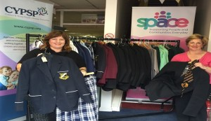 Allison Slater SPACE representative, and Martina Flynn Community Development Worker, with some of the uniform items already donated