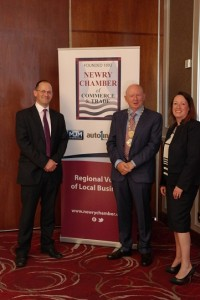 L-R: Dave England - Bank of England Economist, Michael McKeown - President of Newry Chamber, Frances Hill - Bank of England Agent for NI
