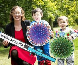 flu-busters-dr-lucy-jessop-from-the-public-health-agency-is-joined-by-superheroes-james-and-thomas-mckeown-to-launch-this-years-flu-vaccination-program