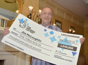 Jim McLoughlin (68) from Newry celebrates after picking up a cool £1,046,066 from a EuroMillions UK Millionaire Maker draw. Every week EuroMillions UK Millionaire Maker guarantees to create two millionaires – one on a Tuesday and one on a Friday. For every EuroMillions line played, UK players automatically receive a UK Millionaire Maker code printed on their ticket
