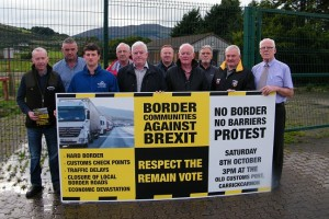 Local business owners, community groups and farmers from both sides of the border at the Old Customs Post at Carrickcarnon where they are calling for people to assemble on Saturday, October 8 to voice their opposition to Brexit and the return of a hard border