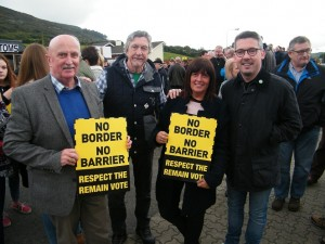 Seanadóir Niall Ó Donnghaile with MP Mickey Brady and councillors Charlie Casey and Valerie Harte at the Border Communities Against Brexit rally at Carrickcarnon