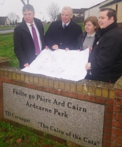 (From left to right): The Housing Executive's Area Manager Owen McDonnell, the Housing Executive's South Region Area Manager Comghal McQuillan, Paula McGuigan and James Treanor of the Carnagat Community Association unveil plans for a £1.2million investment in the Ardcarne Park area of Newry